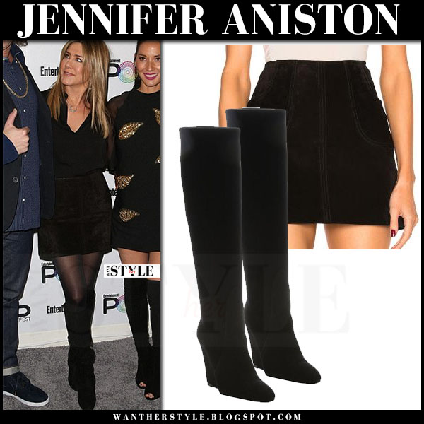 Jennifer Aniston in black shirt, black suede saint laurent trapeze mini skirt and black suede wedge boots prada what she wore