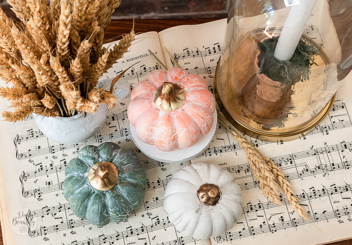 dollar store white washed pumpkins with ironstone and wheat