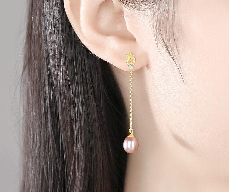 悠色美律 925純銀真珍珠流蘇耳環