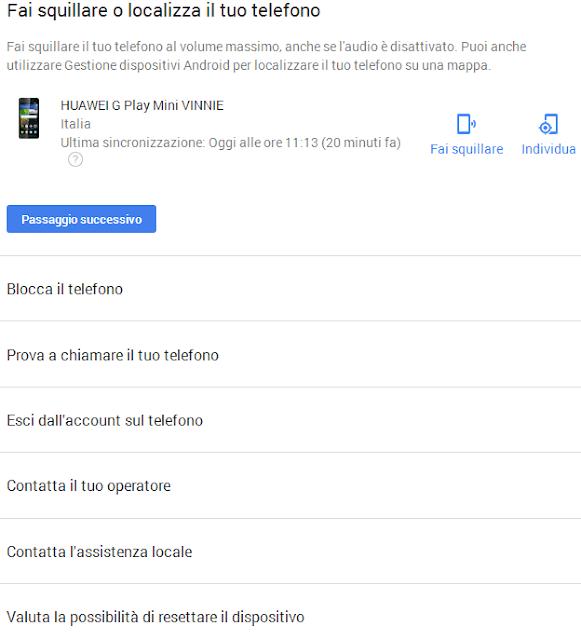 Google Trova il tuo telefono opzioni di gestione e localizzazione