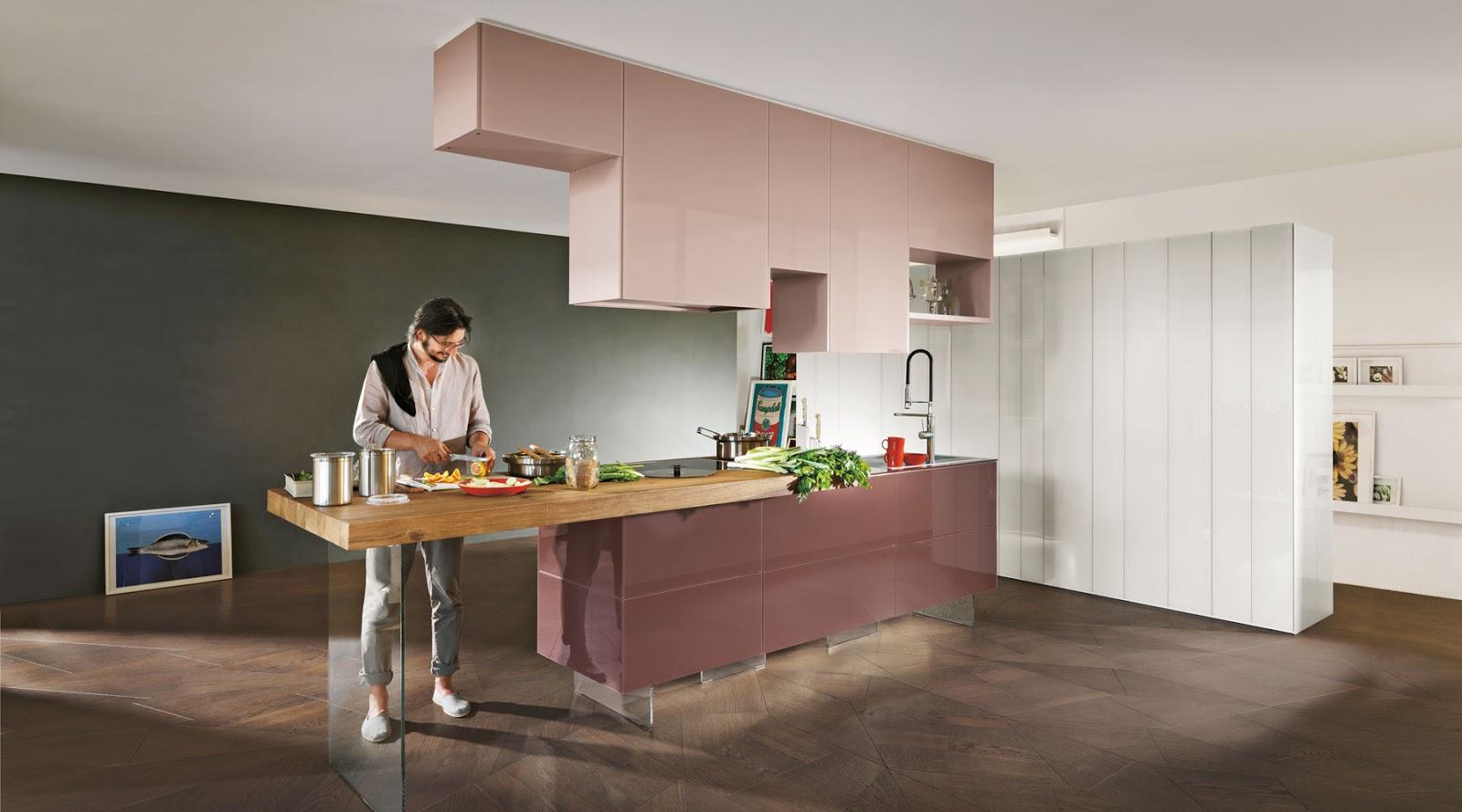 diseo de cocina en isla de trabajo los muebles altos en distintas medidas van anclados al techo donde va integrado un extractor