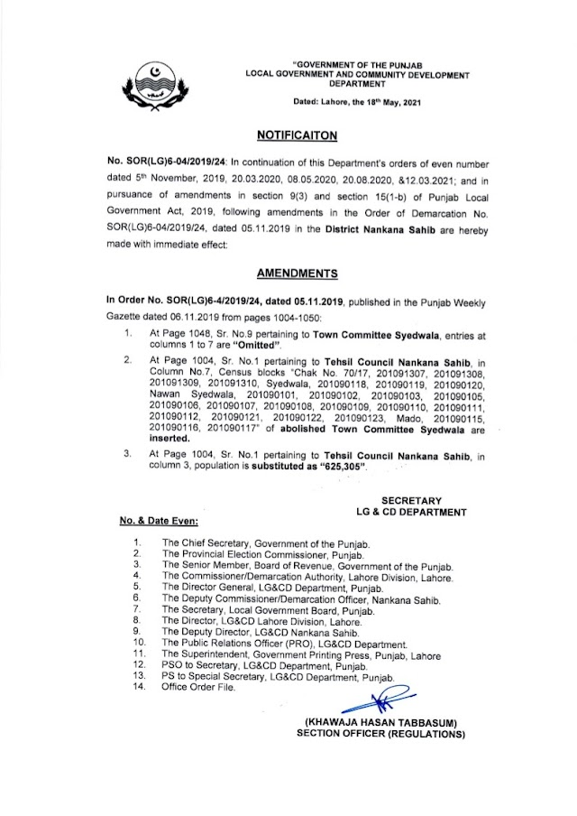 DEMARCATION OF TEHSIL COUNCILS AND ABOLISHED TOWN COMMITTEES OF DISTRICT NANKANA SAHIB