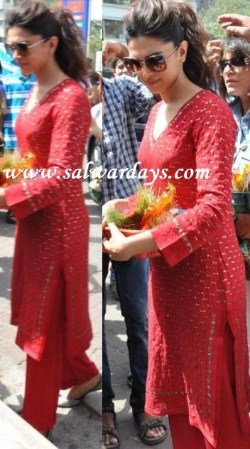 The gallery for --> Deepika Padukone In Red Salwar Kameez