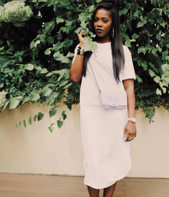 Tiwa Savage looking lovely as she steps out in white gown
