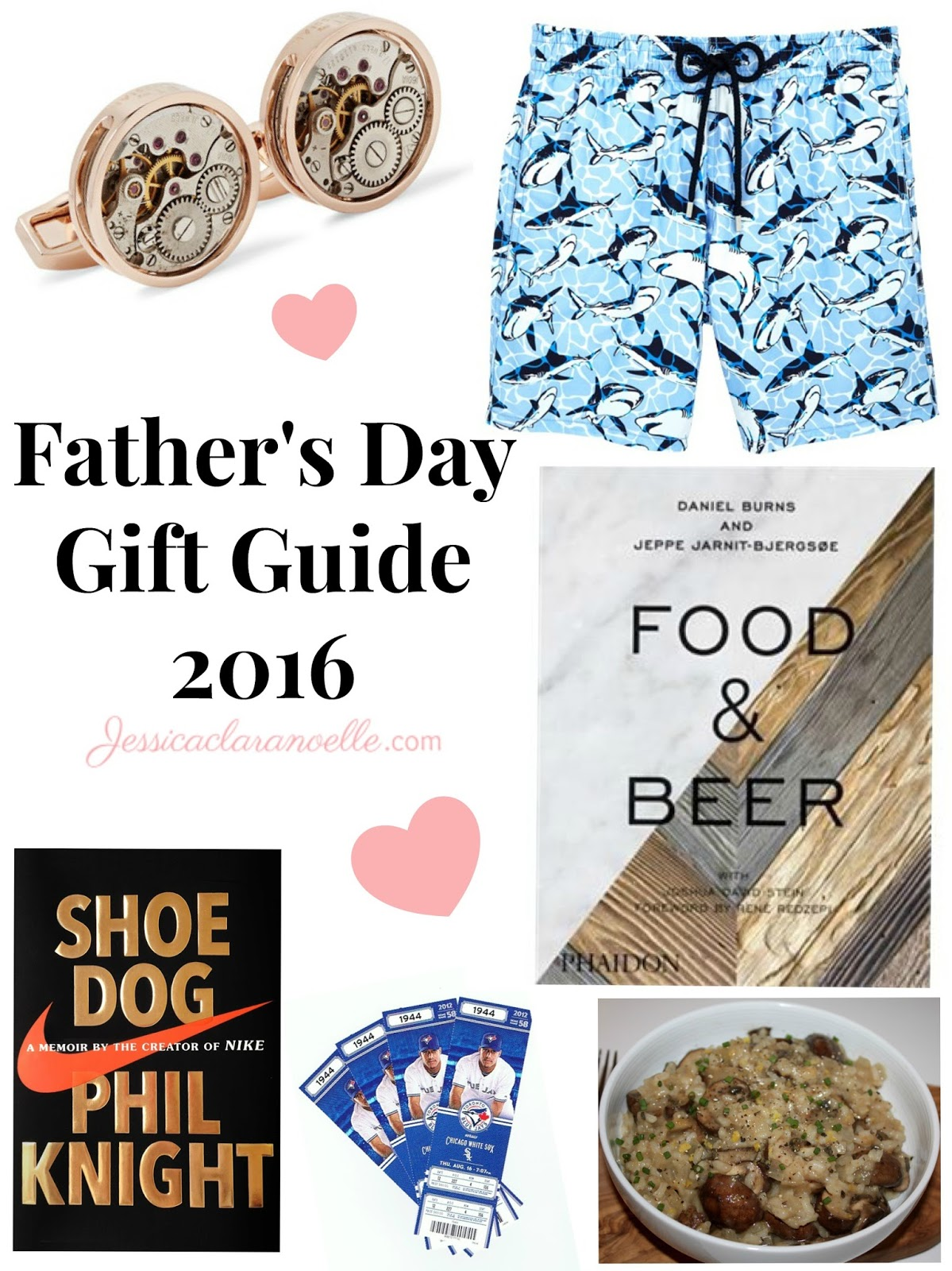 Father's Day 2016 Gift Guide featuring books (Shoe Dog by Phil Knight and Food & Beer by Daniel Burns), risotto recipe, Vilebrequin swim trunks, and Blue Jays sports tickets