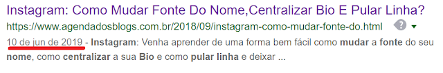 Data atualizada do post para o Google.