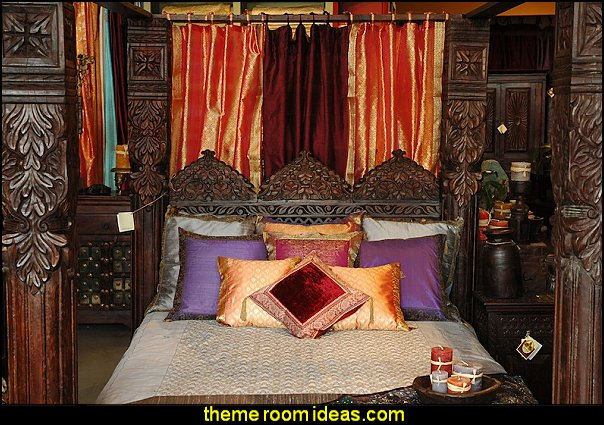 Jhulla Pillar Canopy Bed by Worldcraft Industries exotic theme bedroom decorating ideas