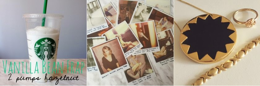 starbucks frap vanilla bean hazelnut taylor swift polaroids jewelry gold house of harlow sunburst instagram