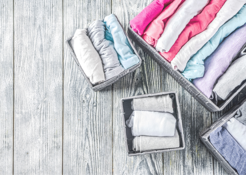 Neatly folded clothes in a post about ten easy ways to simplify your life today