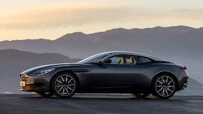 New 2017 Aston Martin DB11 side view coupe car