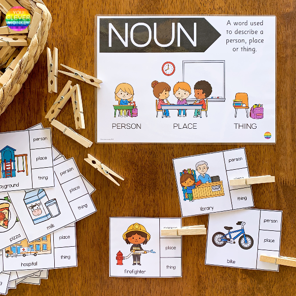 Noun Sorting Clip It Cards | you clever monkey