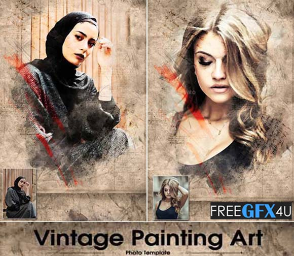 Vintage Painting Art PSD Template