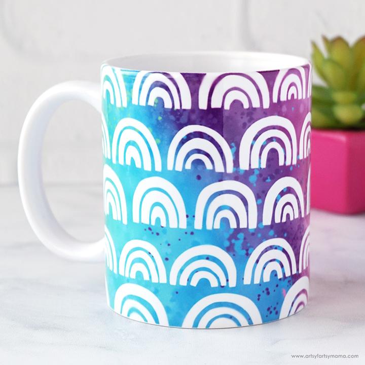 Free Rainbow Mug Wrap Cut File