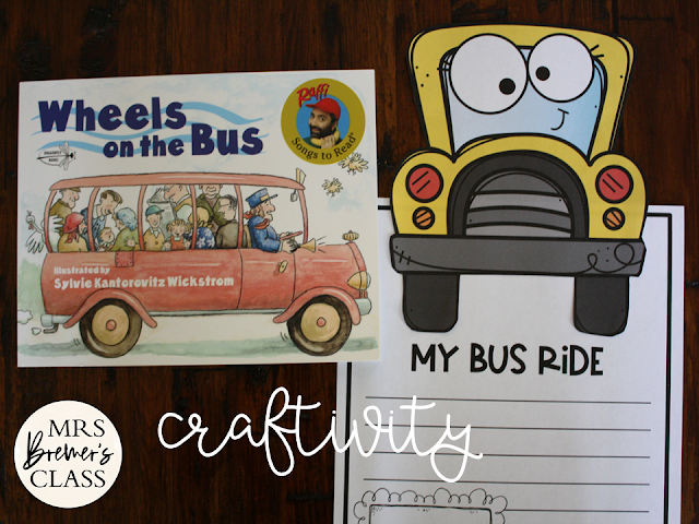 Wheels on the Bus book study activities unit with Common Core aligned literacy activities & a craftivity for Kindergarten and First Grade