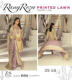 ZS Textile Reza Vol 1 Original Lawn Pakistani Collection 2020 New Design