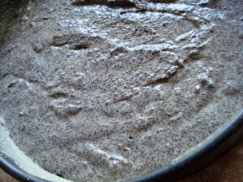 Pour the mixture into the cake tin
