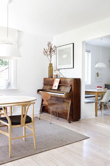 classic piano has been paired with Arne Jacobsen's Myren by Fritz Hansen