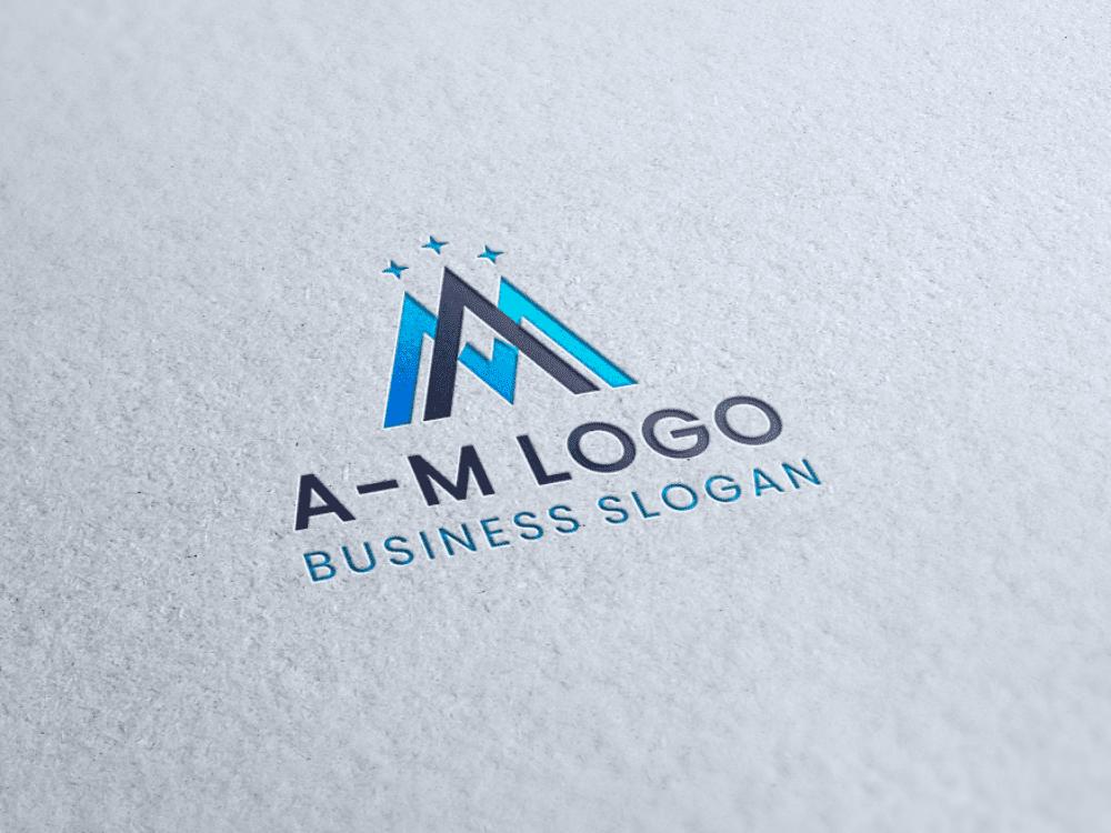 Free logo mountain peak paper letterpress presentation