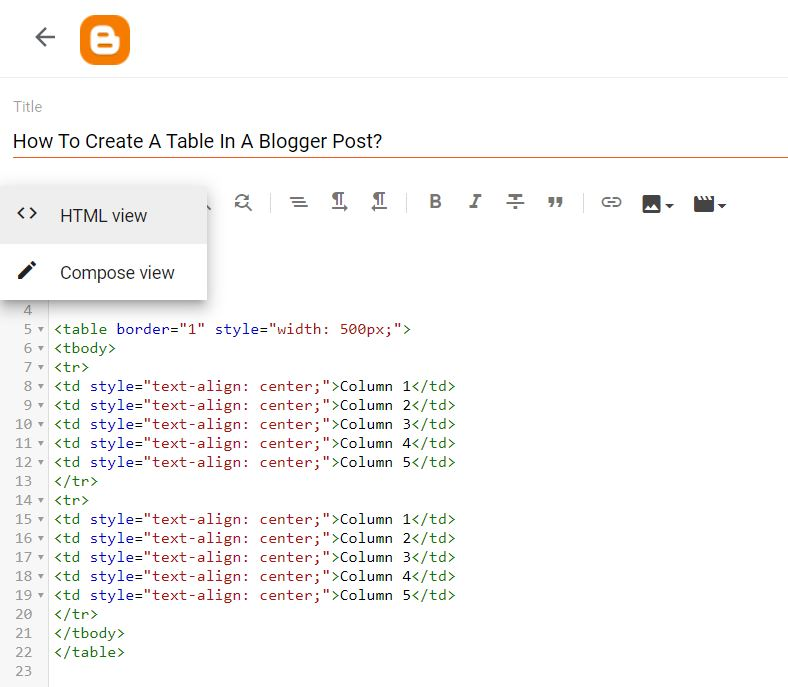 How To Create Table Inside Blogger Post Using HTML?