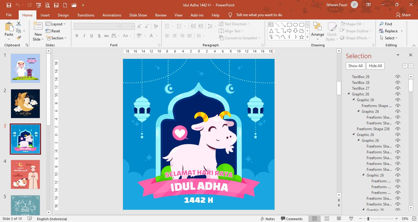 Template PowerPoint Gambar Ucapan Selamat Hari Raya Idul Adha 1442 H