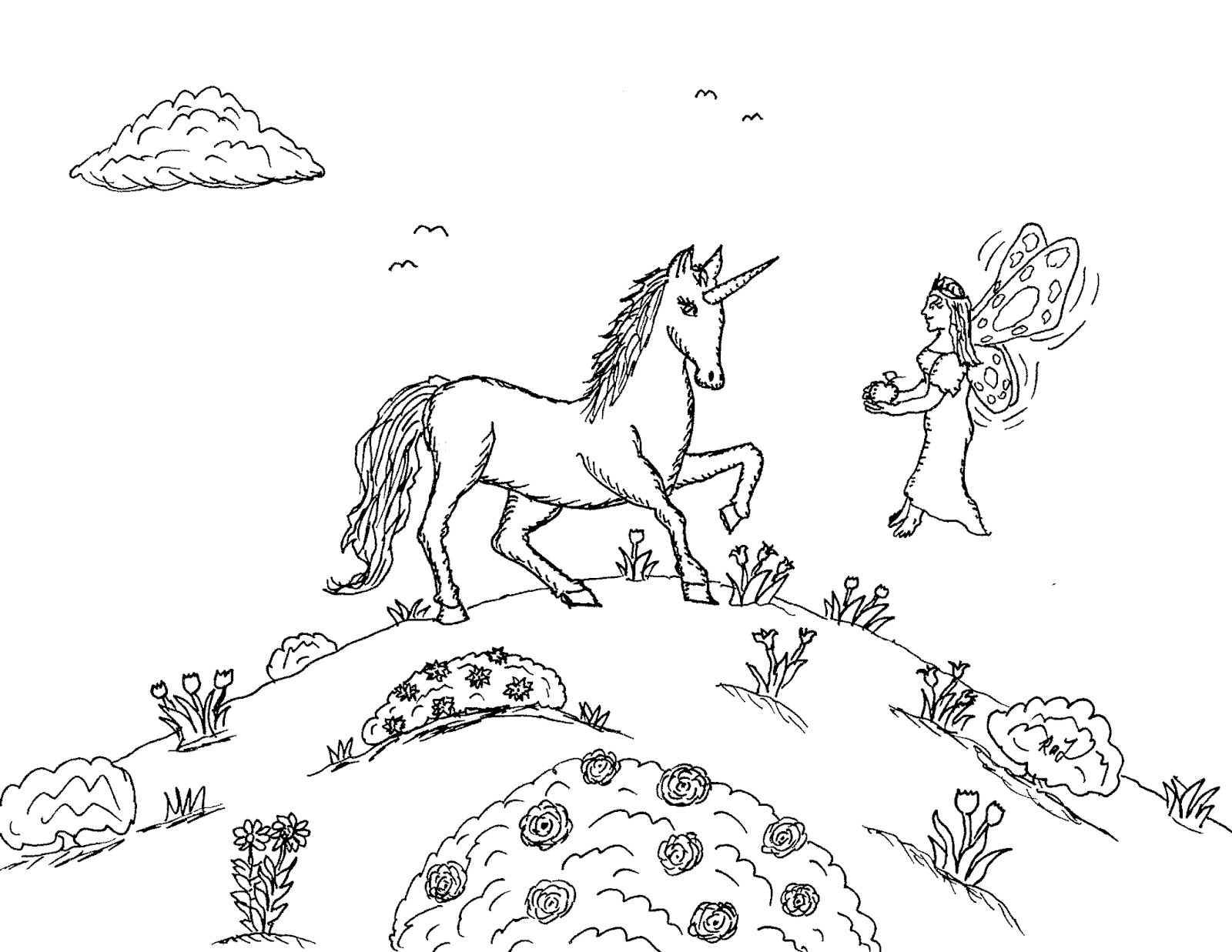 Robin's Great Coloring Pages: Unicorn with Fairy Princess