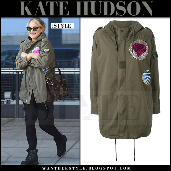 Kate Hudson in green canvas military embellished parka saint laurent what she wore march 2017
