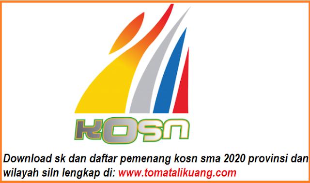 sk daftar pemenang kosn sma tahun 2020 tingkat provinsi dan wilayah siln pdf tomatalikuang.com