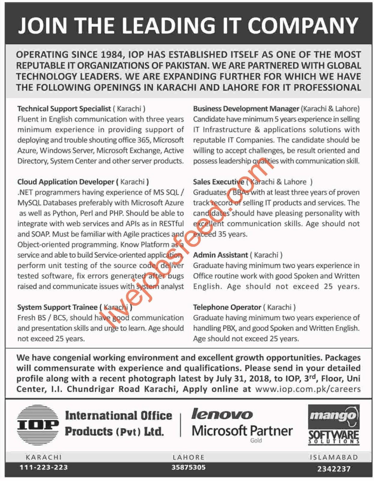 Perfect IOP International Office Products System Support Trainees, Technical  Support Specialist, Cloud Application Developers, BD Manager, Sales  Executive, ...