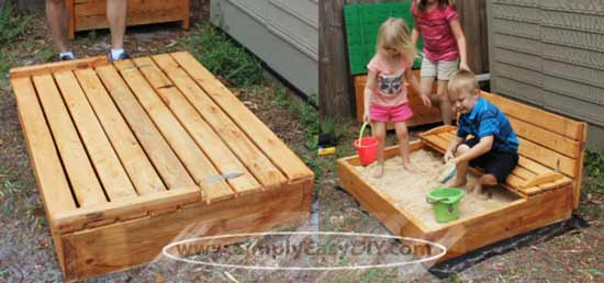 Sandbox with flip top lid