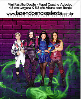 Etiquetas de Fiesta de Descencientes para imprimir gratis.