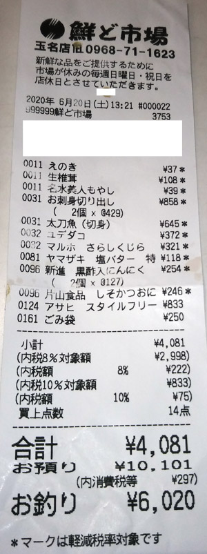 鮮ど市場 玉名店 2020/6/20 のレシート
