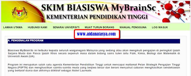 Download borang permohonan biasiswa mybrainsc di sini.