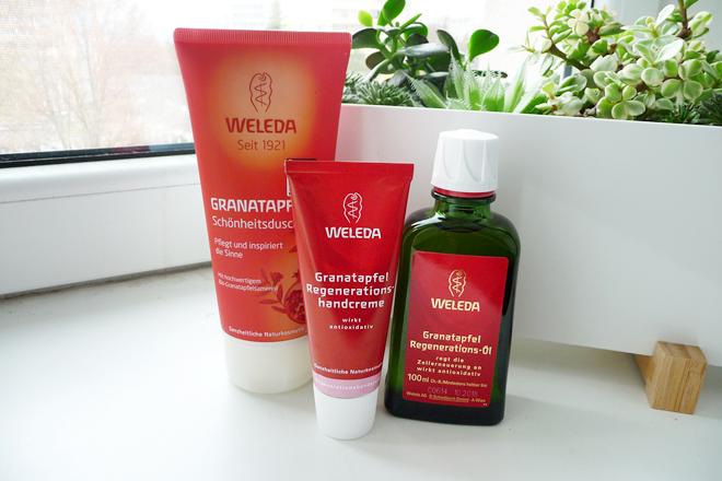WELEDA - GRANÁTOVÉ JABLKO (krém na ruce, regenerační olej, sprchový krém)
