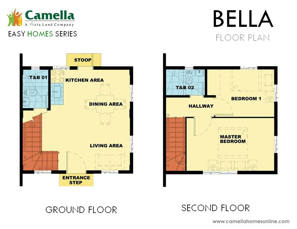 Floor Plan of Bella - Camella Carson | House and Lot for Sale Daang Hari Bacoor Cavite
