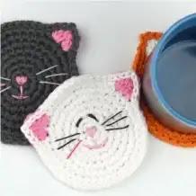 Porta Vasos Gatitos a Crochet