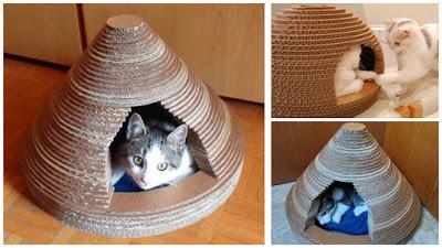 casitas-para-gatos-cartón-corrugado