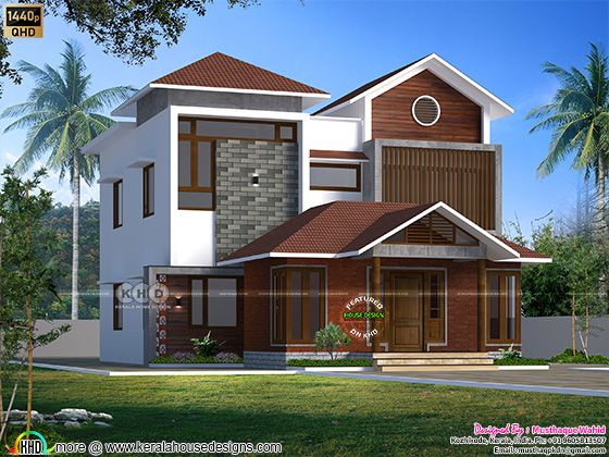 Mixed roof house rendering by Musthaque Wahid from Kozhikode