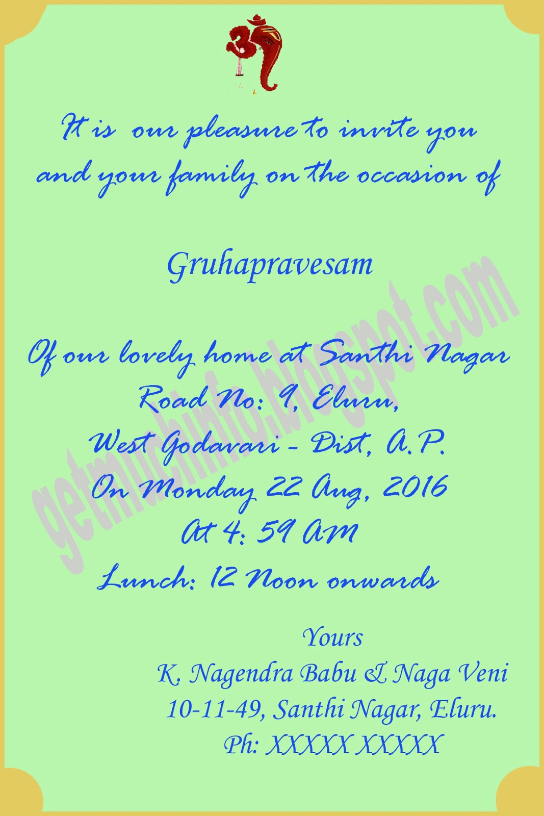 Gruhapravesam invitation wordings in english - Gruhapravesam gifts ideas ...