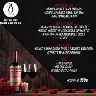 Firuzende Galata Sevgililer Günü Programı Menüsü 2020