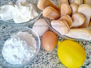 ingredientele retetei de tiramisu cu lamaie, mascarpone, piscoturi, oua, zahar pudra