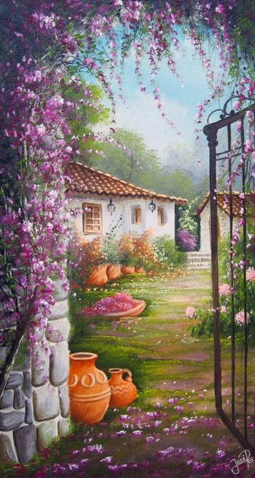 Im genes arte pinturas paisajes r sticos decorativos for Cuadros mexicanos rusticos