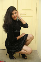 Mounika in a velvet short black dress for Tick Tack Movie Press Meet March 2017 045.JPG