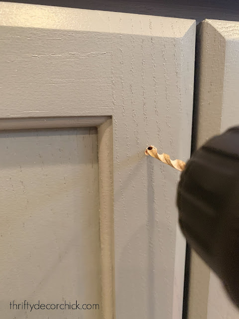 drilling hole for cabinet hardware