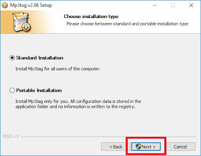 Pada tab Choose Installation Type Sobat pilih sesuai kenginginan Sobat saja. (Contoh Standart Installation). Jika sudah klik Next.