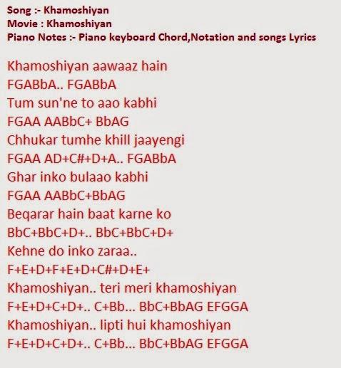 Piano piano chords songs : Piano : khamoshiyan piano chords Khamoshiyan Piano plus ...