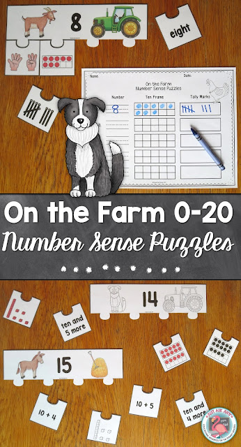 This number sense activity with a farm theme is perfect for kindergarten and early first grade. It includes page size color and black/ white puzzles with the numbers 0-20 represented in different ways- number words (0-10), fingers (0-10), tally marks (0-10), ten frames (0-20), base ten blocks (11-20), ten and _ more (11-20), and 10 + _ (11-20).