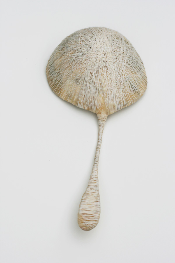 Sound, 2011. beeswax, thread, paper & wire. 34.5 x 16.5 x 3.5 cm