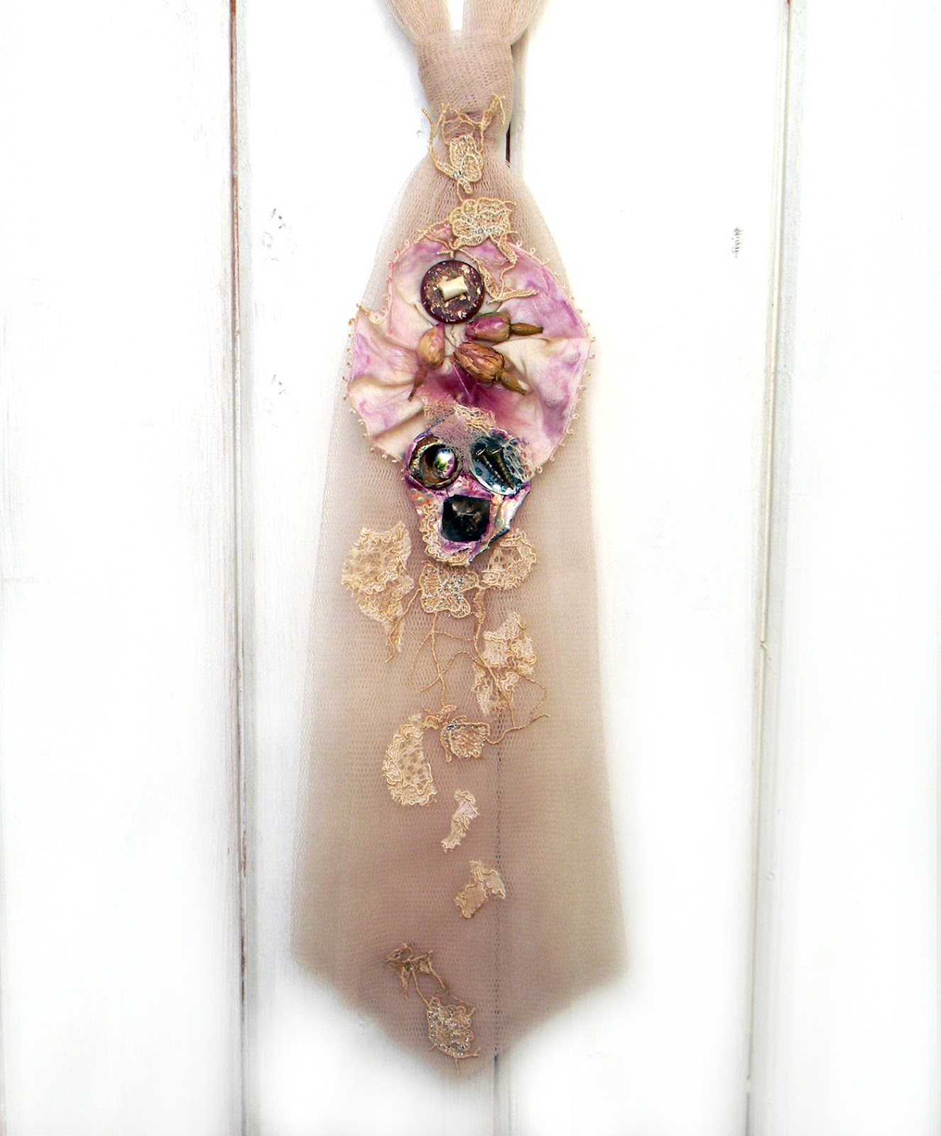 """Nude Bloom"" Women Necktie Steampunk Fairy Chic"