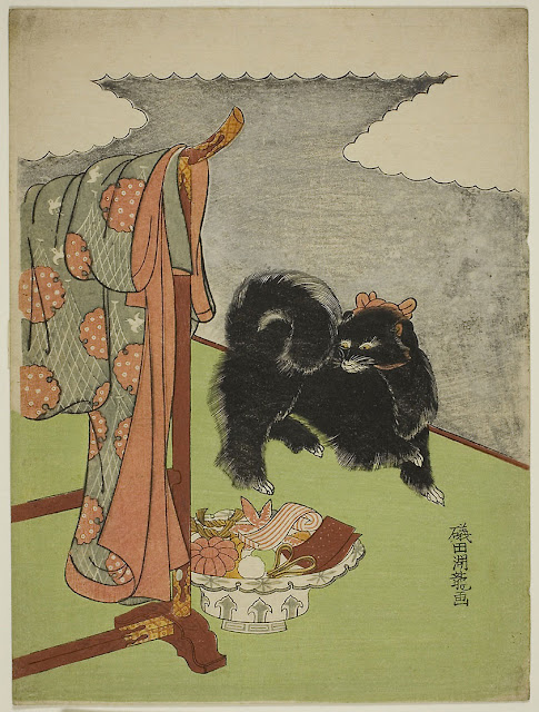 Black Dog by Isoda Koryusai, this month's pet in art in the Companion Animal Psychology newsletter, with the latest science news about dogs, cats and other animals