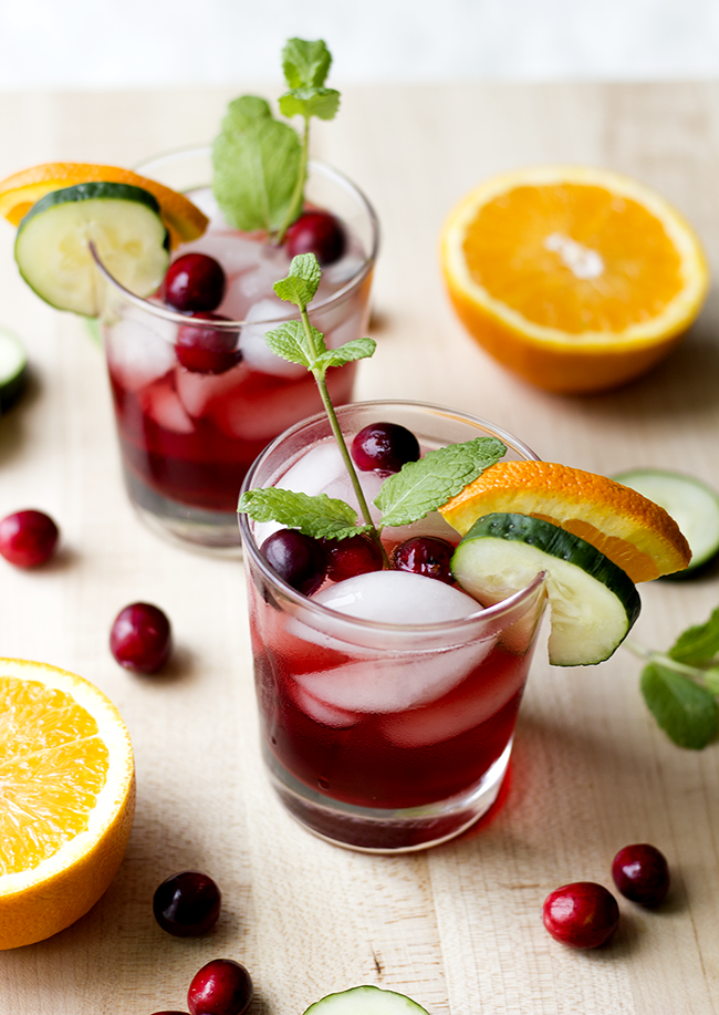 Cranberry Cucumber Vodka Spritzers